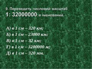 А) в 1 см – 320 км; Б) в 1 см – 23000 км; В) в 1 см – 32 км; Г) в 1 см – 3200
