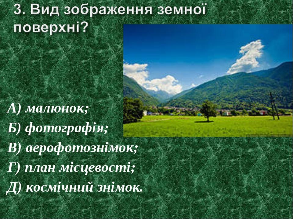 А) малюнок; Б) фотографія; В) аерофотознімок; Г) план місцевості; Д) космічни...