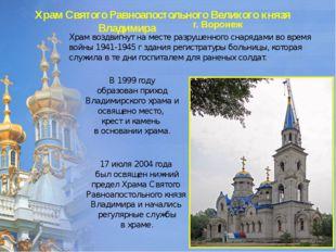 Храм Святого Равноапостольного Великого князя Владимира г. Воронеж Храм воздв