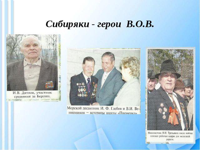 Сибиряки - герои В.О.В.