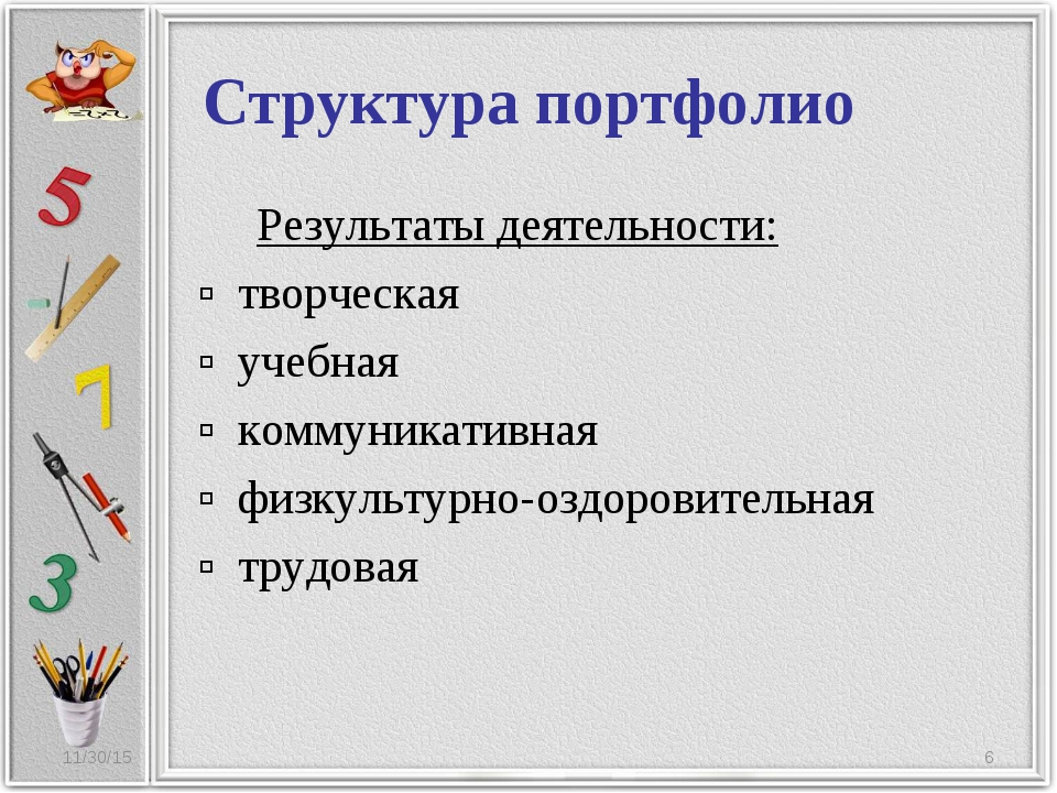 Структура портфолио Результаты деятельности: ▫ творческая ▫ учебная ▫ коммуни...