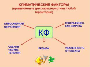 КЛИМАТИЧЕСКИЕ ФАКТОРЫ (применяемые для характеристики любой территории) КФ АТ
