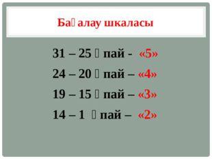 Бағалау шкаласы 31 – 25 ұпай - «5» 24 – 20 ұпай – «4» 19 – 15 ұпай – «3» 14 –
