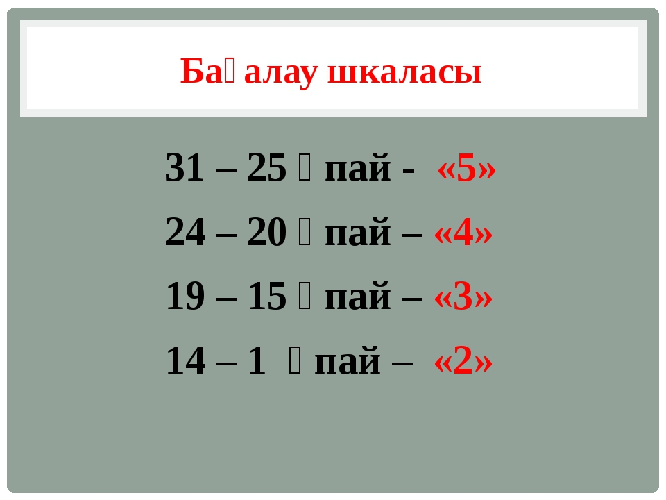 Бағалау шкаласы 31 – 25 ұпай - «5» 24 – 20 ұпай – «4» 19 – 15 ұпай – «3» 14 –...