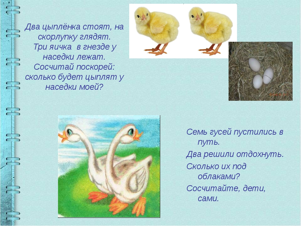 Два цыплёнка стоят, на скорлупку глядят. Три яичка в гнезде у наседки лежат....