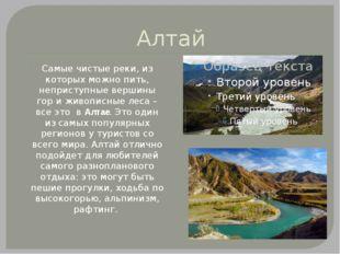 Алтай Самые чистые реки, из которых можно пить, неприступные вершины гор и жи