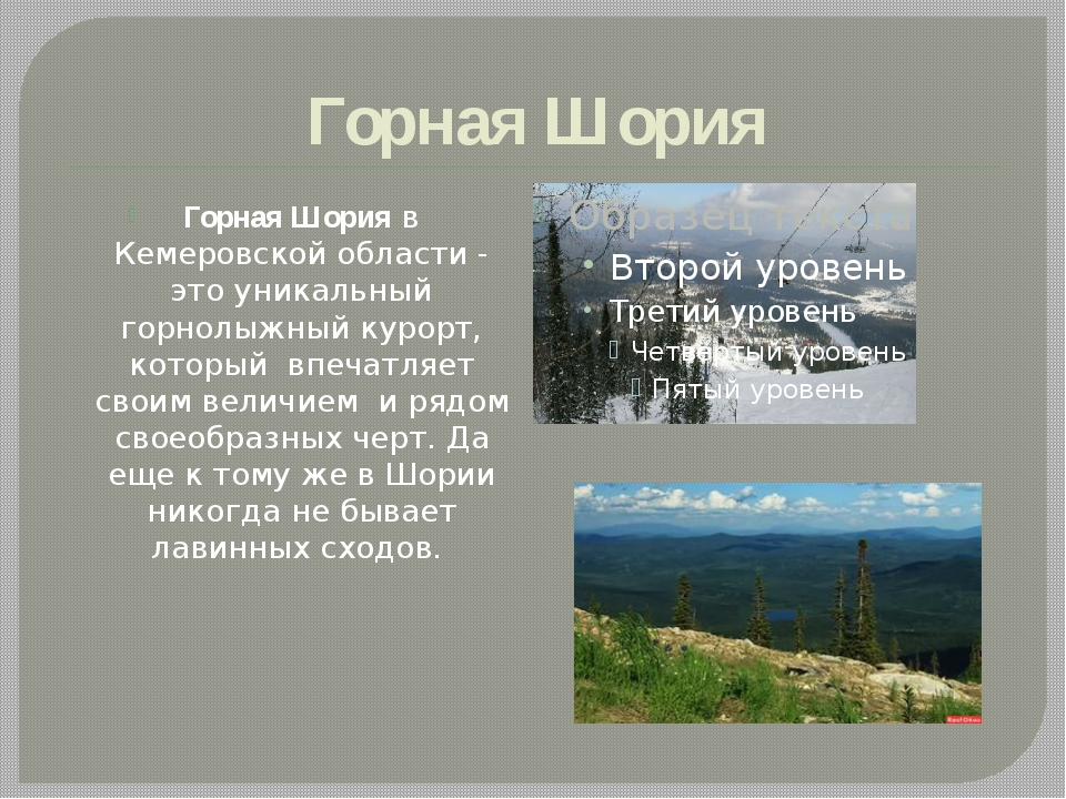 Горная Шория Горная Шория в Кемеровской области - это уникальный горнолыжный...
