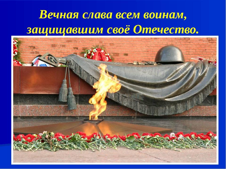 Вечная слава всем воинам, защищавшим своё Отечество.