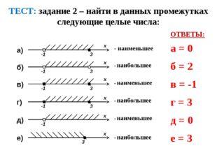 ТЕСТ: задание 2 – найти в данных промежутках следующие целые числа: ОТВЕТЫ: а