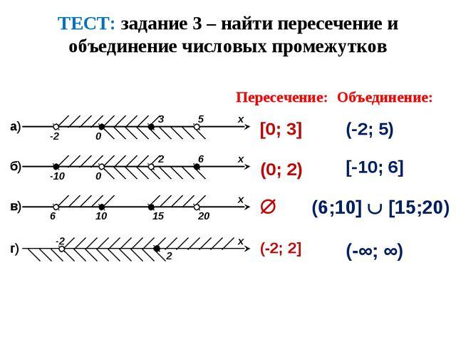 ТЕСТ: задание 3 – найти пересечение и объединение числовых промежутков