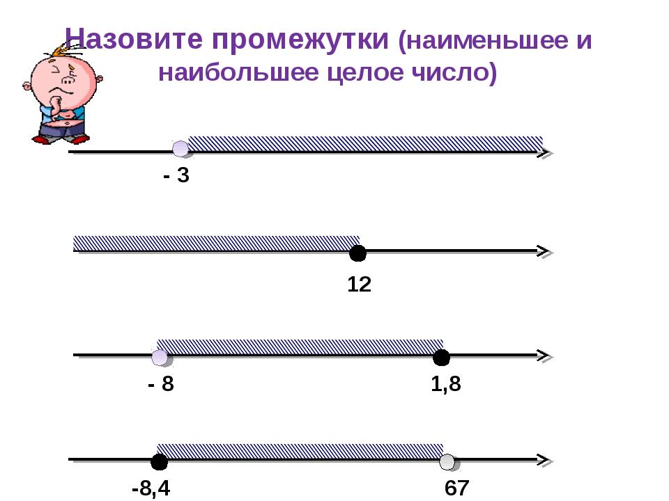 Назовите промежутки (наименьшее и наибольшее целое число) - 3 12 - 8 1,8 -8,4...