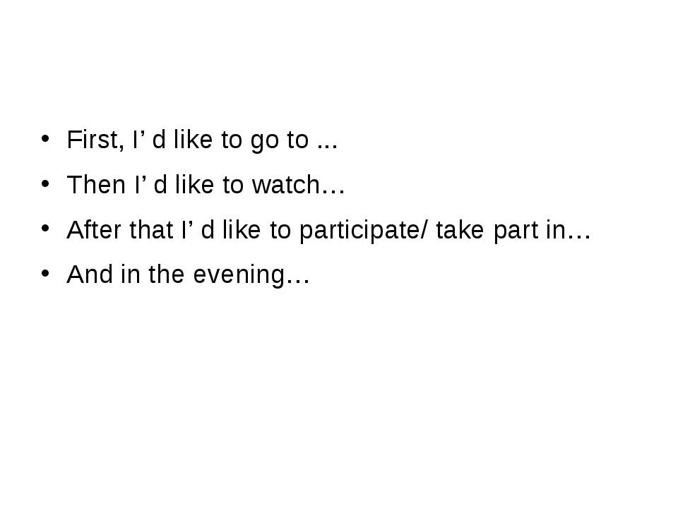 First, I' d like to go to ... Then I' d like to watch… After that I' d like...