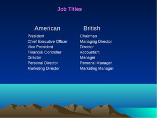 Job Titles American British President Chief Executive Officer Vice Presiden
