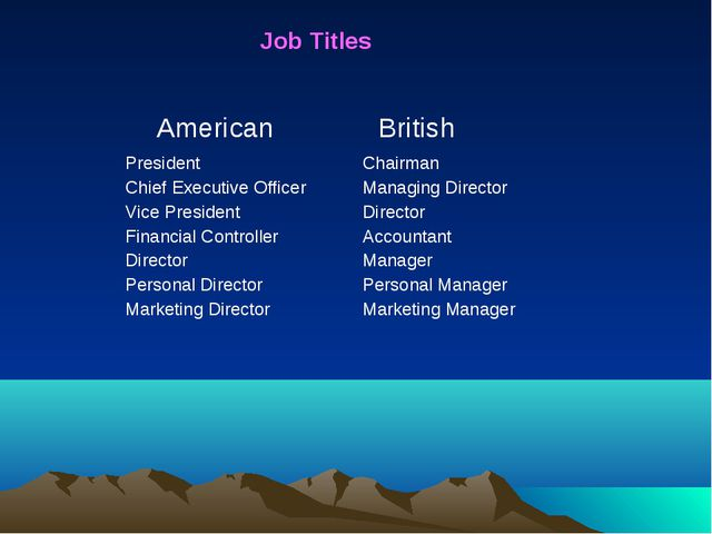 Job Titles American British President Chief Executive Officer Vice Presiden...