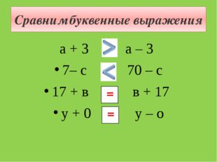 Сравним буквенные выражения а + 3 и а – 3 7– с и 70 – с 17 + в и в + 17 у + 0