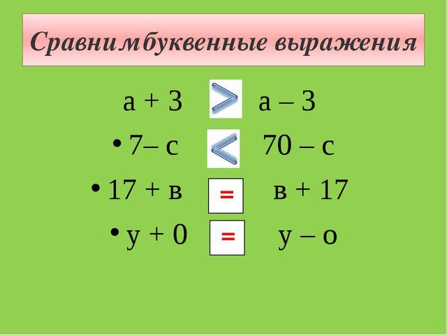 Сравним буквенные выражения а + 3 и а – 3 7– с и 70 – с 17 + в и в + 17 у + 0...