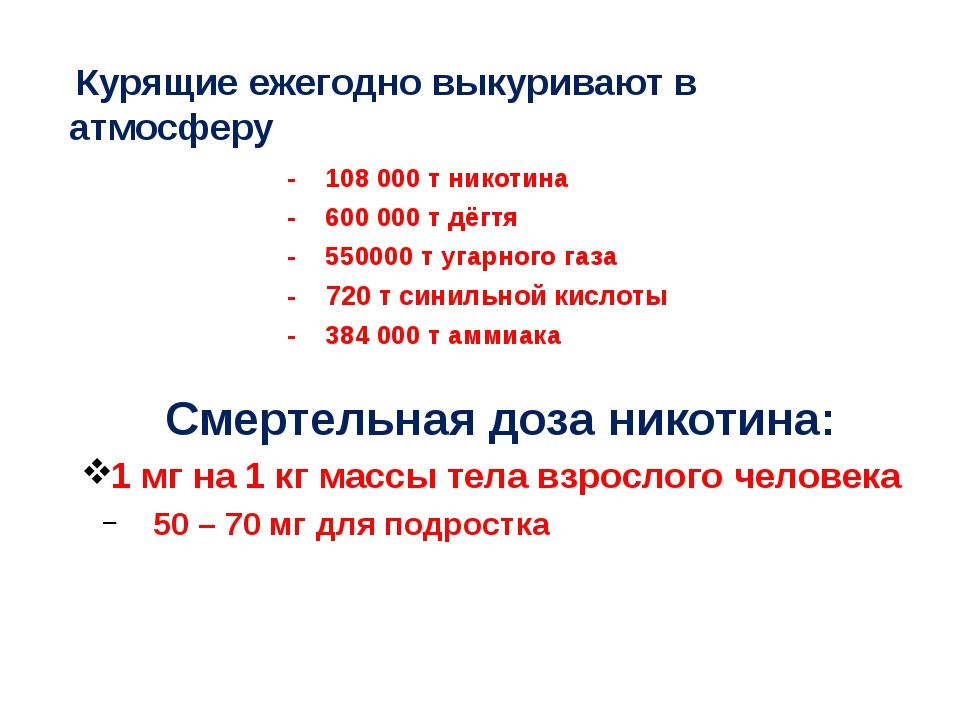 - 108 000 т никотина - 600 000 т дёгтя - 550000 тугарного газа - 720 т син...
