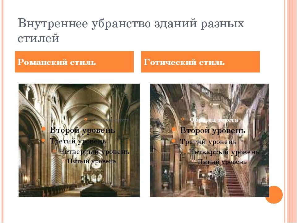 Внутреннее убранство зданий разных стилей Романский стиль Готический стиль
