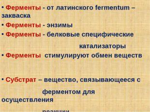 Ферменты - от латинского fermentum – закваска Ферменты - энзимы Ферменты - б