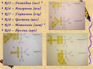 R15 – Гистидин (гис) * R16 – Аспорагин (асп) R17 – Глутамин (глу) R18 – Цисте