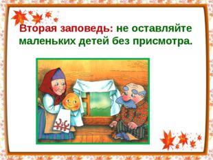 Вторая заповедь: не оставляйте маленьких детей без присмотра.