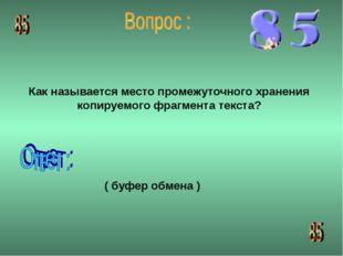 Как называется место промежуточного хранения копируемого фрагмента текста? (