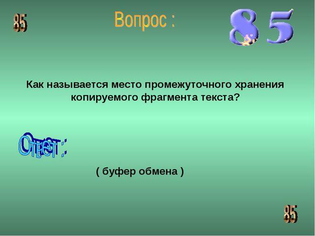 Как называется место промежуточного хранения копируемого фрагмента текста? (...