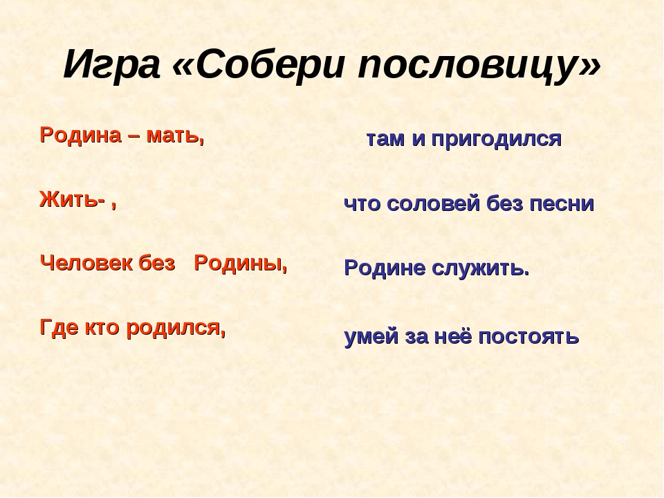 Игра «Собери пословицу» Родина – мать, Жить- , Человек без Родины, Где кто р...