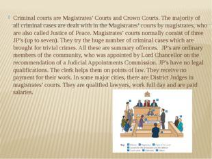 Criminal courts are Magistrates' Courts and Crown Courts. The majority of all
