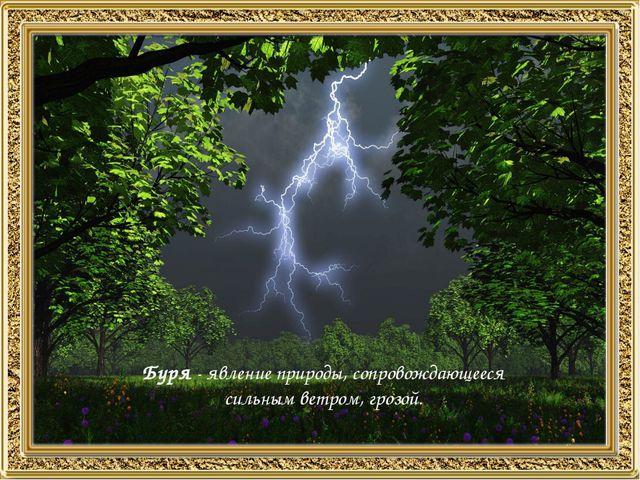 Буря - явление природы, сопровождающееся сильным ветром, грозой.