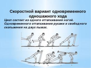 Цикл состоит из одного отталкивания ногой. Одновременного отталкивания рук