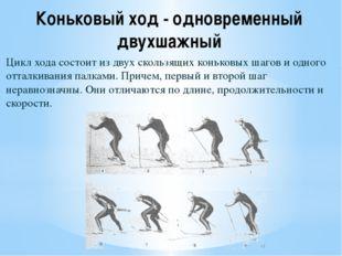 Коньковый ход - одновременный двухшажный Цикл хода состоит из двух скользящих