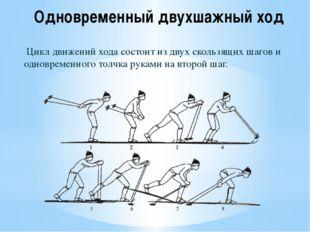Одновременный двухшажный ход Цикл движений хода состоит из двух скользящих ша