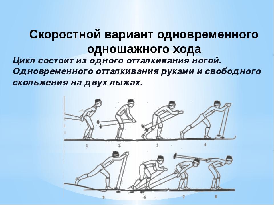 Цикл состоит из одного отталкивания ногой. Одновременного отталкивания рук...