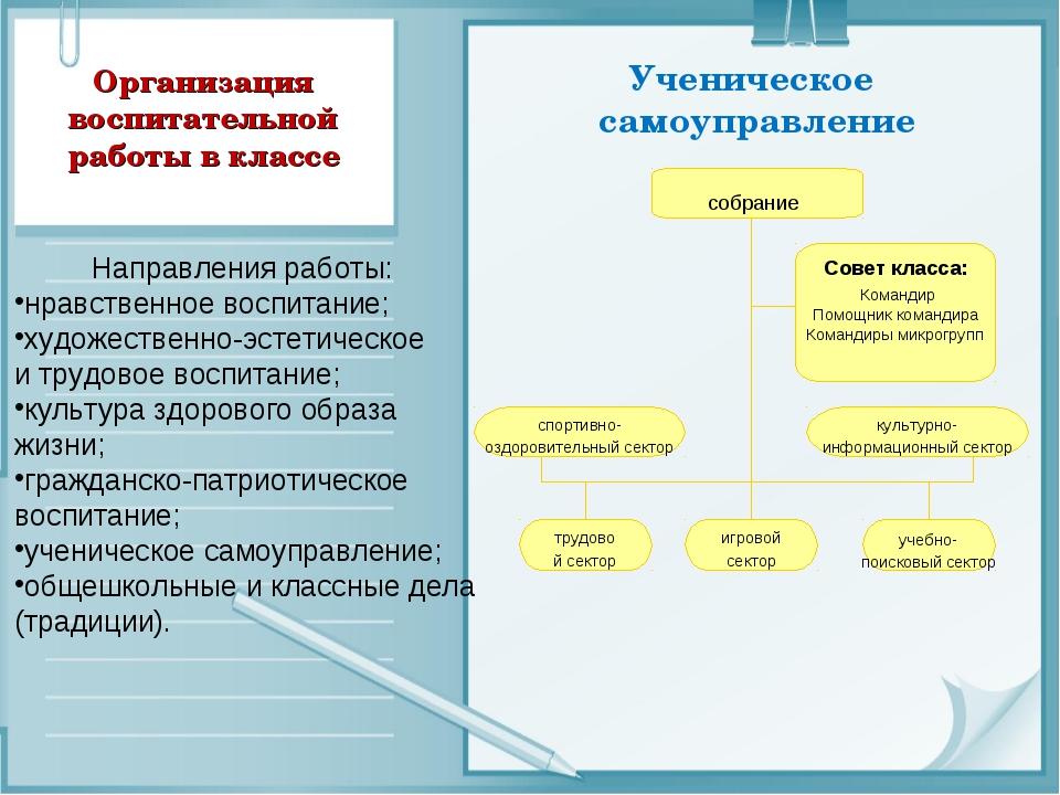 Организация воспитательной работы в классе Ученическое самоуправление Направл...