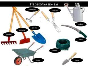 Перекопка почвы лопата мотыга грабли пила шланг совок тачка рыхлитель секатор