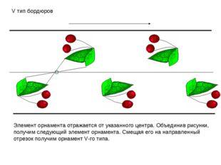 V тип бордюров Элемент орнамента отражается от указанного центра. Объединив р