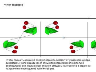 VI тип бордюров Чтобы получить орнамент следует отразить элемент от указанног