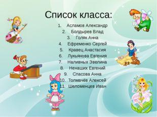 Список класса: Асламов Александр Болдырев Влад Голяк Анна Ефременко Сергей К