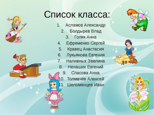 Список класса: Асламов Александр Болдырев Влад Голяк Анна Ефременко Сергей К...
