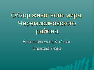 Обзор животного мира Черемисиновского района Выполнила:уч-ца 8 «А» кл. Шашков