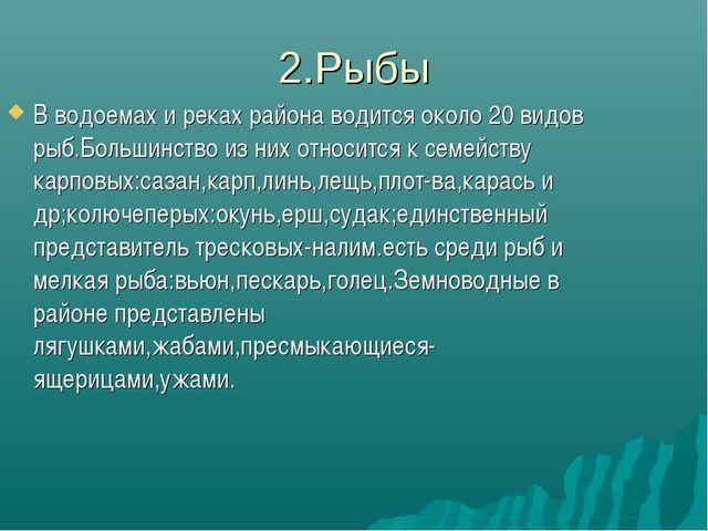 2.Рыбы В водоемах и реках района водится около 20 видов рыб.Большинство из ни...