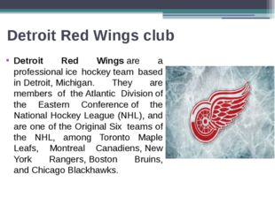 Detroit Red Wings club Detroit Red Wingsare a professionalice hockeyteam