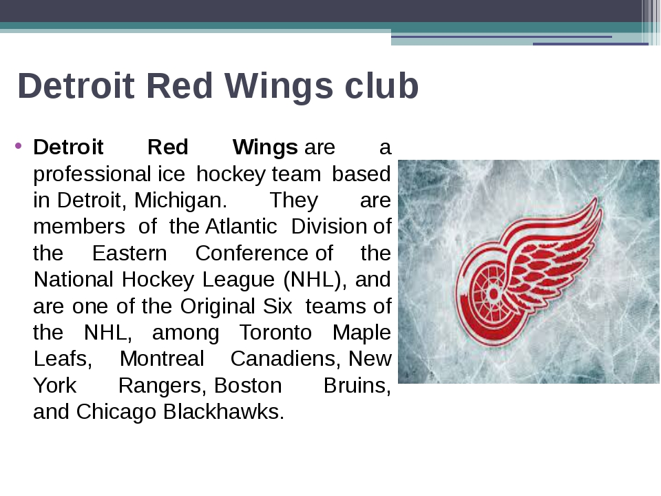 Detroit Red Wings club Detroit Red Wingsare a professionalice hockeyteam...