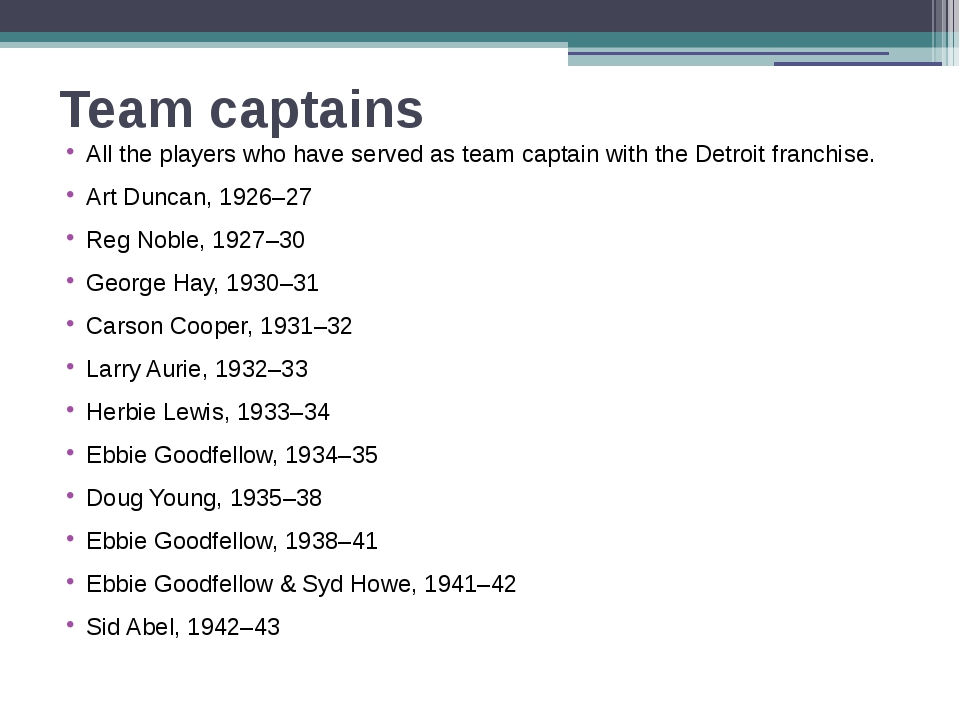 Team captains All the players who have served as team captain with the Detroi...