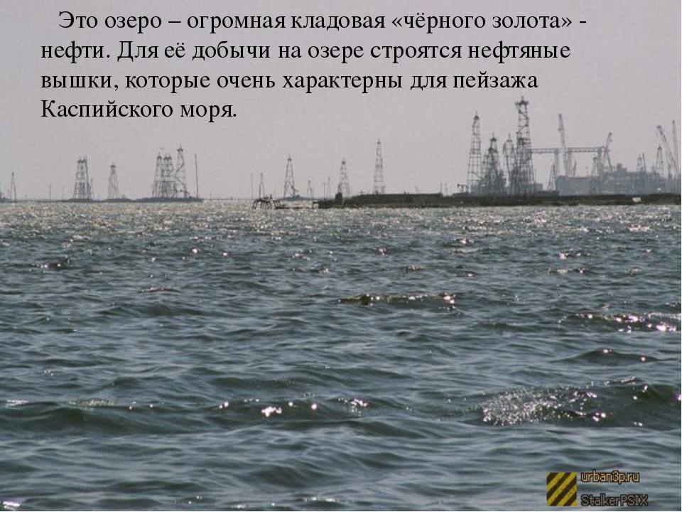 Это озеро – огромная кладовая «чёрного золота» - нефти. Для её добычи на озе...