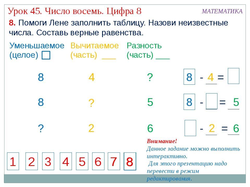 4 ? ? 8 8 ? 5 6 ? ? ? 2 2 1 2 3 4 5 6 7 7 8 8 8. Помоги Лене заполнить таблиц...