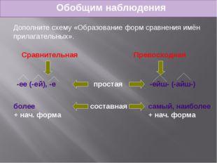 Обобщим наблюдения Дополните схему «Образование форм сравнения имён прилагате