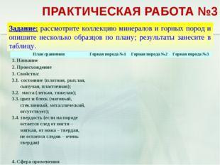 ПРАКТИЧЕСКАЯ РАБОТА №3 План сравненияГорная порода №1Горная порода №2Горна
