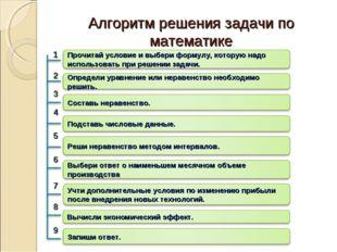 Алгоритм решения задачи по математике 1 2 3 4 5 6 7 9 8